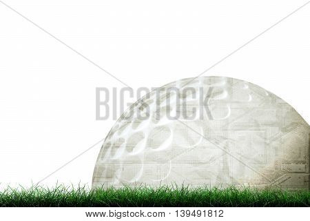 3d illustration of a golf ball on green grass isolated on white background