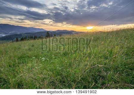 Mountain Range On The Background Of The Sunset