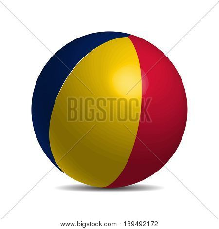 Chad flag on a 3d ball with shadow, vector illustration