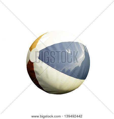 3d illustration of a plastic beach ball isolated on white background