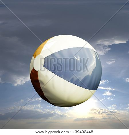 3d illustration of a plastic beach ball