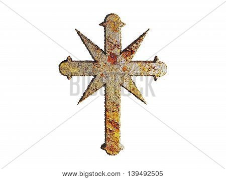 illustration of a rusty cross isolated on white background