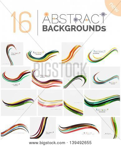 Set of abstract color waves, unusual various designs - transparent curves, smooth lines, smoke wave templates, blue red green colors. Universal modern background templates and banner layouts