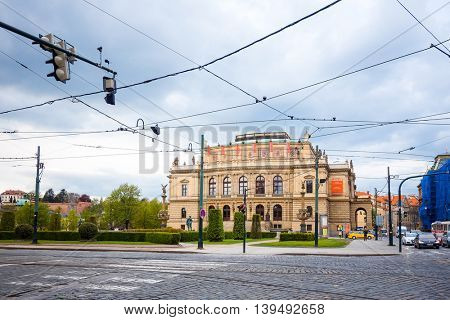 PRAGUE, CZECH REPUBLIC - April 26, 2016 : Tourists on foot Street in old town PRAGUE in Czech Republic