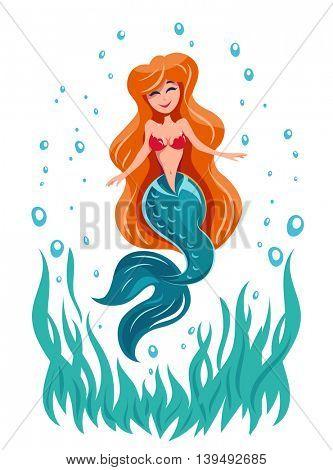 Mermaid fairy tale marine character vector illustration undine
