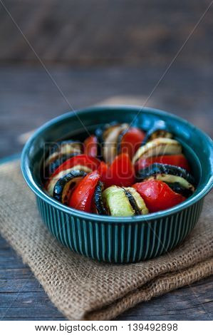 Ratatouille ready to be put in the oven to bake