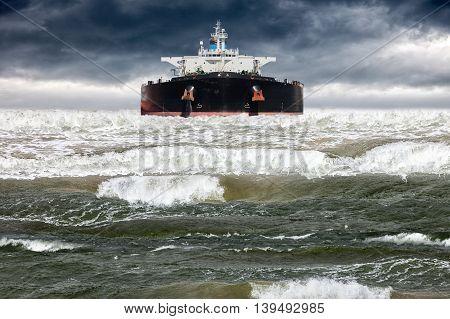 Big ship at sea during a storm.
