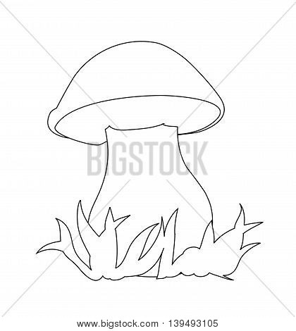 Image of porcini. Can be used for coloring book. Vector illustration.