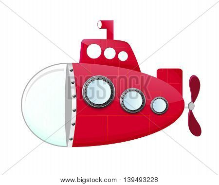 cartoon red submarine with periscop and propeller