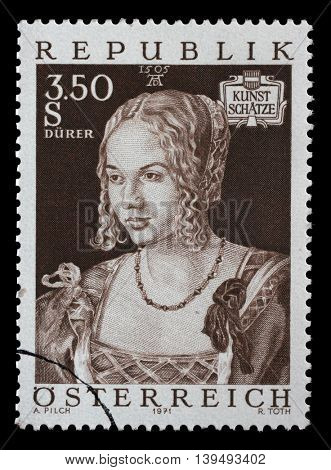 ZAGREB, CROATIA - JULY 03: stamp printed by Austria, shows Art Treasures in Austria, Venice Girl by Albrecht Durer, circa 1971, on July 03, 2014, Zagreb, Croatia