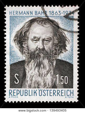 ZAGREB, CROATIA - JULY 03: stamp printed by Austria, shows Hermann Bahr, circa 1963, on July 03, 2014, Zagreb, Croatia