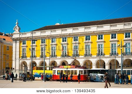 Lisbon, Portugal-March 10: Typical,Tramway on March 10, 2016. Beautiful Tramway in  Lisbon, Portugal, Europe
