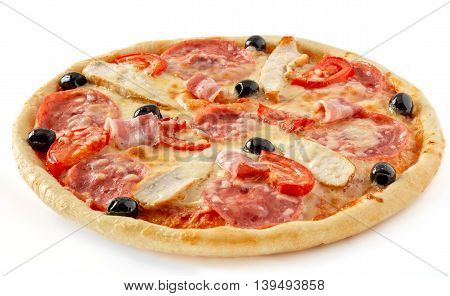 Chicken bacon pizza with tomatoes and olives