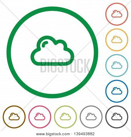 Set of cloud color round outlined flat icons on white background