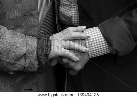 Hands. Close-up.Old man and old woman holding hands. True love. Black and white.