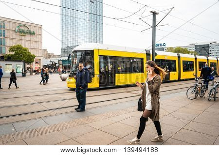 BERLIN, GERMANY- May 18: Typical Street view May 18, 2016 in Berlin, Germany. Berlin is the capital of Germany. With a population of approximately 3.5 million people.BERLIN, GERMANY
