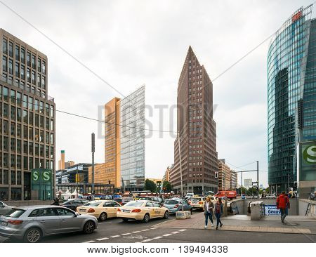 BERLIN, GERMANY- May 18: Potsdamer Platz is an important public square and traffic intersection in the centre of Berlin. May 18, 2016. BERLIN, Germany.