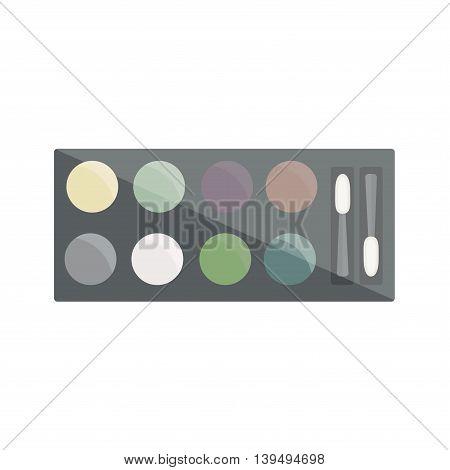 Eye shadow in  black box. Vector illustration.