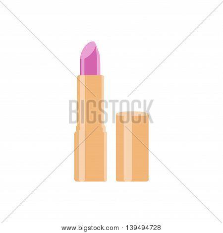 Pink lipstick in orange box. Vector illustration.
