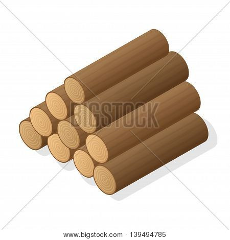 Stack of firewood. Logs of wood. Isometric vector illustration.