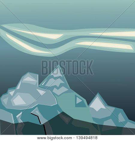 Simple blue mountains. Geometric paper application landscape