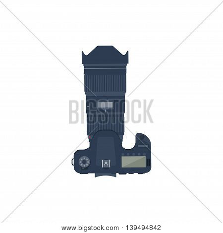 Photography. Photo camera in a flat style with lens. Photoshooting.Photographing equipment.Vector illustration