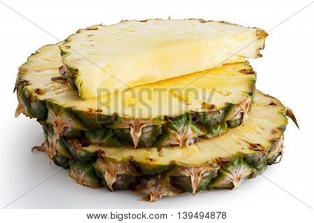 Round Pineapple Slices With Skin Isolated On White.