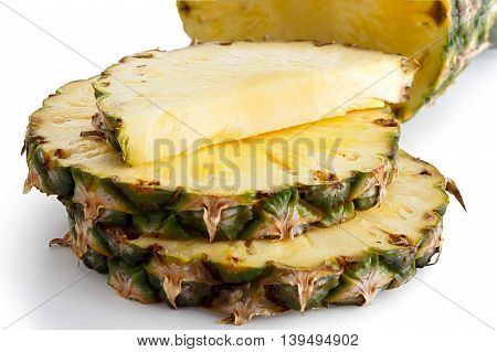 Round Pineapple Slices With Skin On White.