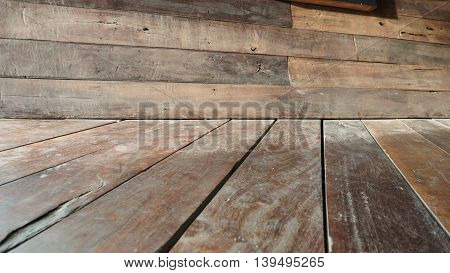 Wall and floor perspective antique Red Balau wood littlebit blur photo design deccor oblique for background.