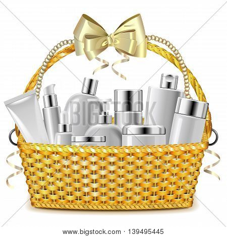 Vector Wicker Basket with Cosmetics isolated on white background