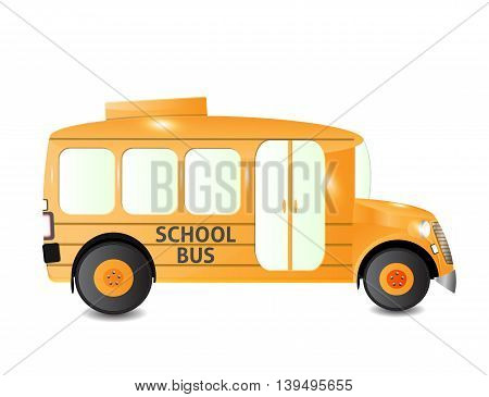 yellow school bus from side view isolated