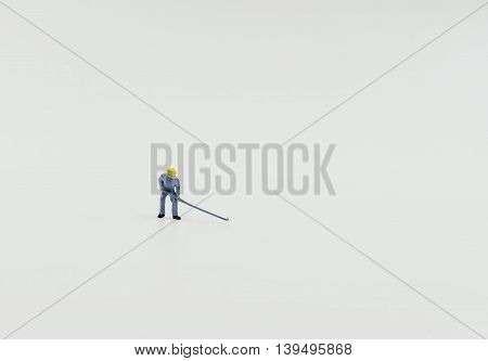 single mini worker on isolate background - can use to display or montage on product