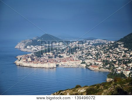 dubrovnik old town view and adriatic coast in croatia balkans