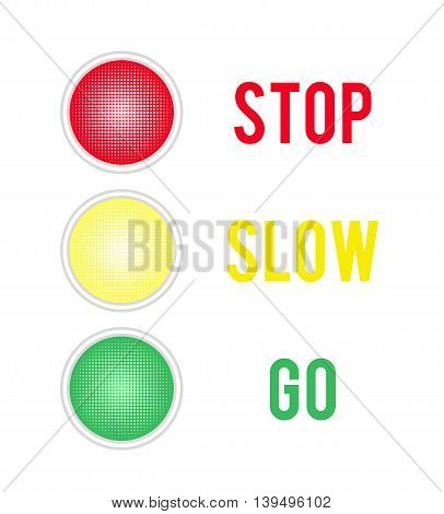 Traffic lights sign isolated on white background. Vector illustration.