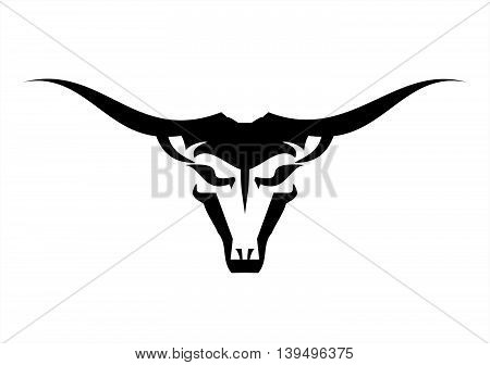 Wild Bull with the Long Horns on white background