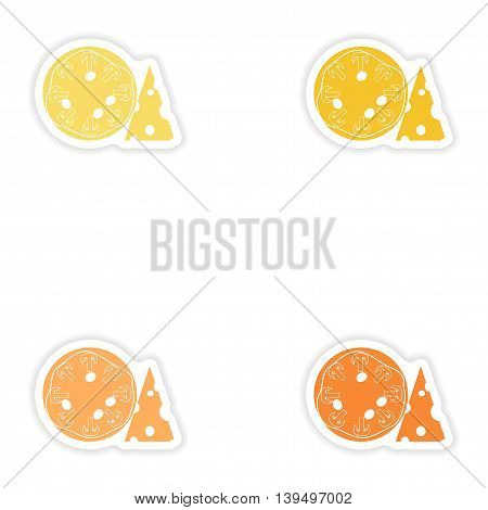 Set of paper stickers on white background  mushroom pizza