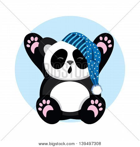 Sleepy Panda in the cap yawns and stretch oneself. Character cute and beautiful bear. Vector illustration