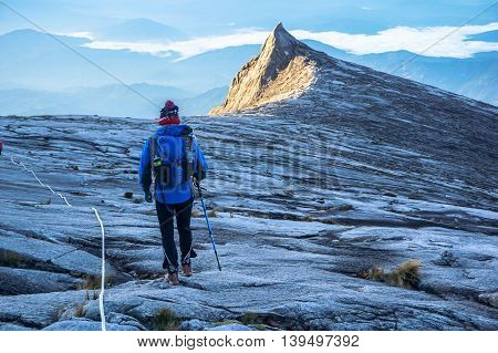Ranau,Sabah Borneo-March 13,2015:Mountain KInabalu climber move down from Low's Peak to Sayat Sayat check point at Mountain Kinabalu.Sabah Land Below the Wind.