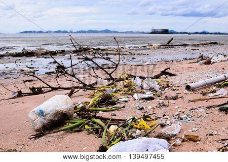 PATTAYA, THAILAND - JUNE 18:Garbage on the beach  on JUNE 18, 2015 in Pattaya, Thailand.
