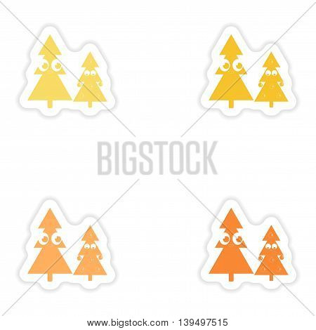 Set of paper stickers on white background Christmas Trees