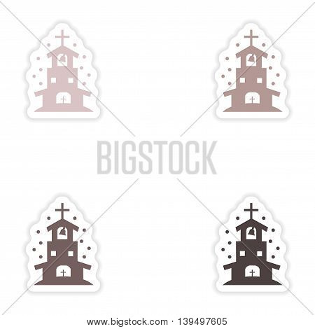 Set of paper stickers on white background  Christian church