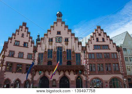 Frankfurt, Germany - June 15, 2016: View of Roemerberg square in Frankfurt, Germany. Frankfurt is the fifth-largest city in Germany.
