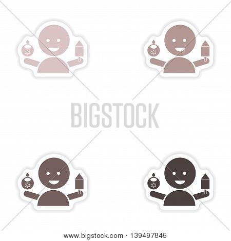 Set of paper stickers on white background   Jewish child