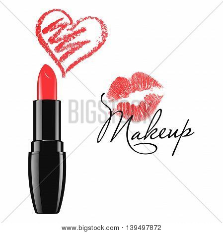 Cosmetic product design vector illustration. Makeup red lipstick and doodle heart isolated over white background