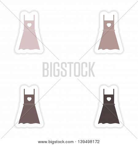 Set of paper stickers on white background   summer dress