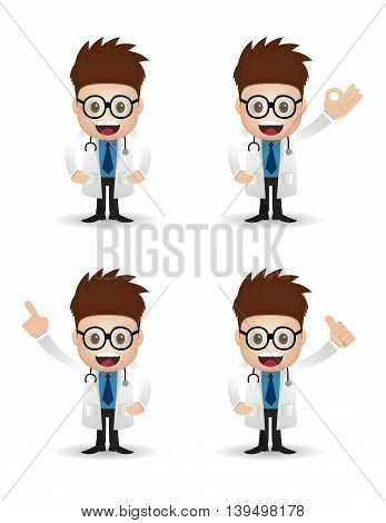 collection set young doctor with glasses isolated