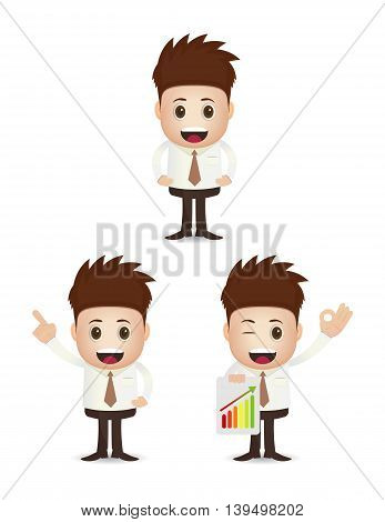 collection set cartoon of young businessman isolated