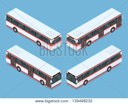 City bus. Public transport. Four views. Isometric vector illustration