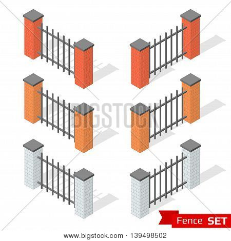 Set of three different color fence sections of bricks and metal. Brick column and metallic profile with shadows. Park and outdoor decoration elements. Isometric vector illustration