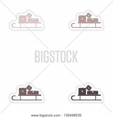 Set of paper stickers on white background   sled gifts